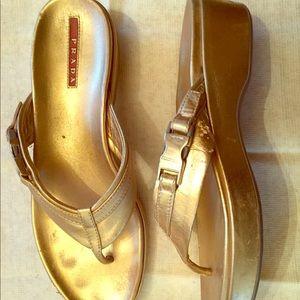 PRADA Gold leather sandals 7US